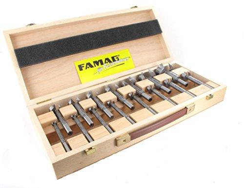 15-teiliger FAMAG SUPER-Forstnerbohrersatz Classic WS mit D=10,12,15,16,18,20,22,25,26,28,30,35,40,45,50mm im Holzkasten