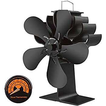 Slivek 5-Blades Fireplace Stove Fan Silent Motors Heat Powered Stove Fan with Thermometer for Wood Log Burner Fireplace