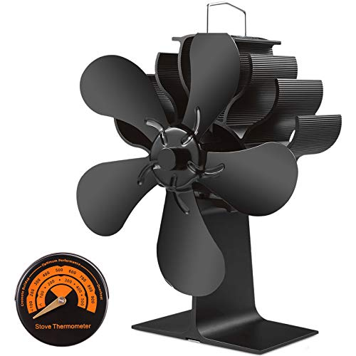 Slivek 5-Blades Fireplace Stove Fan, Silent Motors Heat Powered Stove Fan with Thermometer for Wood, Log Burner, Fireplace