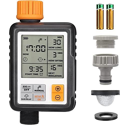 Johgee programmatore per Irrigation Batteria Giardino computer irrigazione IP65 Timer automatico dell'acqua Facile Controlla