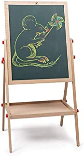2 in1 Wooden Kids Easel Double-Sided Adjustable Chalk Drawing Blackboard & White Dry Erase Surface with Bonus Magnetic Alphabet Numbers & Extra Accessory Set (40inch)