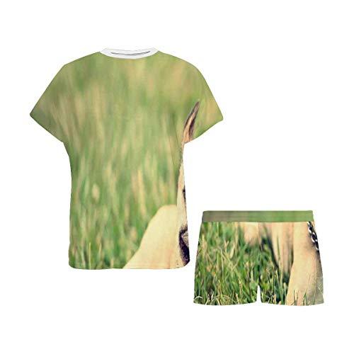 INTERESTPRINT French Bulldog on Green Grass Women Sleepwear Round Neck Pajamas Set Shorts Nightwear S