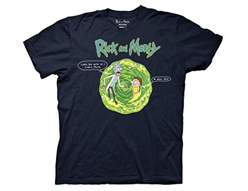 Ripple Junction Rick and Morty Adult Unisex Looks Like We're on a T-Shirt Heavy Weight 100% Cotton Crew T-Shirt SM Navy