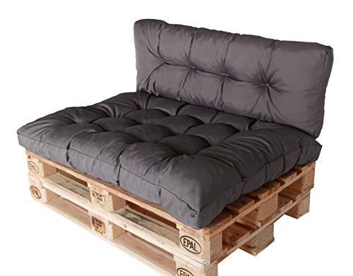 Palettenkissen-Set Sitzkissen&Rückenkissen für Europaletten Palettenauflage (Anthrazit)