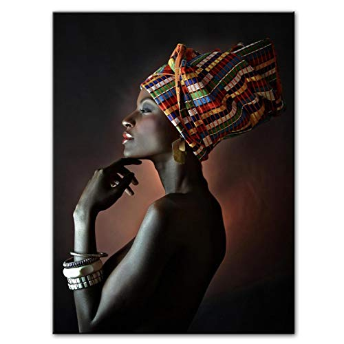 Gymqian Hermosas Mujeres Negras africanas Lienzo Pintura Carteles e ImpresionesCuadros Cuadro de Arte de Pared para Sala de Estar decoración del hogar 60x80cm sin Marco