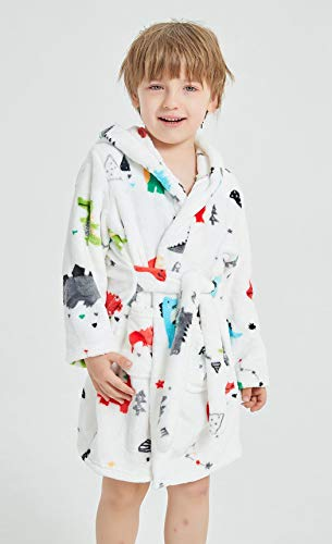 Chichidog Dressing Gown Boys, Kids Fleece Hooded Dressing Gowns White Dinosaur 2-3 Years