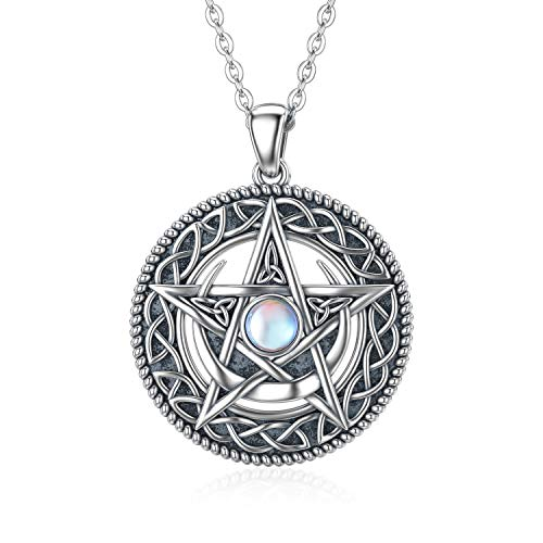 MBSUUH Celtic Knot Star Synthetic Moonstone Moon Necklace 925 Sterling Silver Celtic Pendant Jewelry Gift for Mom Women