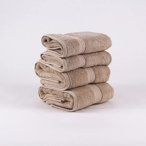PimpamTex – Juego de Toallas Premium 700 Gramos de Secado Rápido para Baño, 100% Algodón, Pack Toallas de Baño + Toallas de Mano – (Arena, 2 de 70x140 cm + 2 de 50x100 cm)