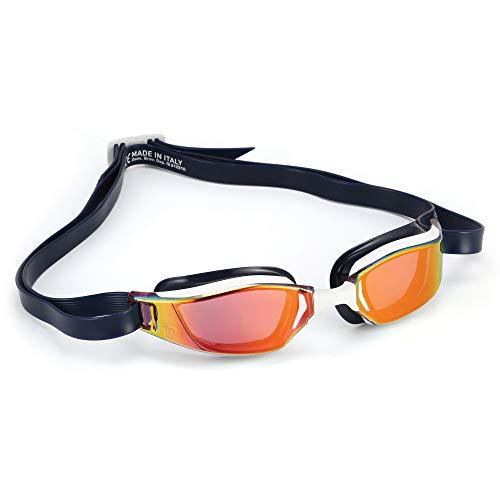 Phelps XCEED, Occhialini da Nuoto Unisex-Adulto, Lente a Specchio in Titanio Bianco e Blu/Rosso, Taglia Unica