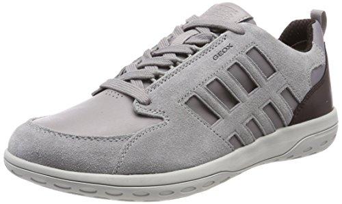 Geox Herren U MANSEL A Sneaker, Grau (Lt Grey/Dk Burgundy), 44 EU
