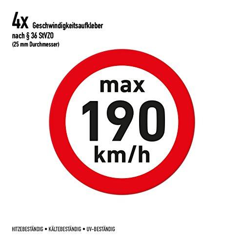 Geschwindigkeitsaufkleber Winterreifen 190 km/h Aufkleber Sticker (4 Stück, transparent)