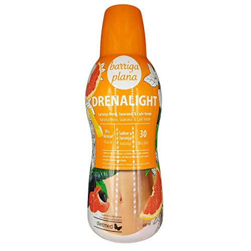 Dietmed - Drenalight Barriga Plana | DETOX Adelgazante Drenante | Reducción de la Grasa Abdominal - Acción Lipolítica - Efecto Termogénico | Naranja Moro - Guaraná - Café Verde | 0% Azúcar.