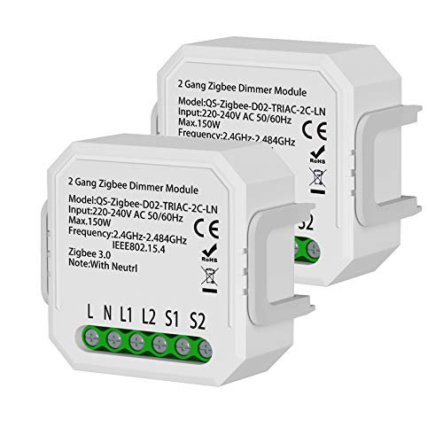 LEOMOCA Zigbee Smart Light Switches Dimmers Module 110-240V- Control for Dimmable LED and Halogen Lamps Home Automation Modules-Smart Life Compatible with Alexa Google Home (2gang-2Pack with Neutral)