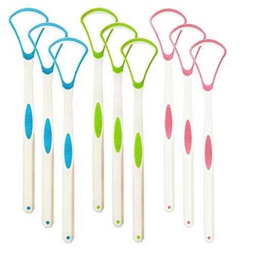 9 Stücke Kunststoff Zungenschaber Zungenreiniger für Kinder Erwachsene, Creatiees Anti mundgeruch Zunge Kratfänger Pinsel für Mundpflege Frischer Atem - Bequem &Sicher(Grün+Blau+Rosa)