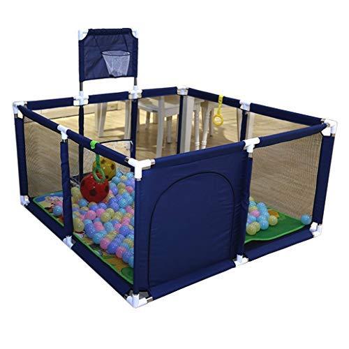 no brand Parcs for Enfants, bébé Peut y Jouer barrière de Protection Aire de Jeux Clôture Portable avec Le Basket Hoop (Color : Blue)
