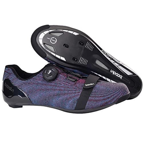 ASORT Calzado de Ciclismo para Hombre, Calzado de Bicicleta de Carretera de Fibra de Carbono Transpirable Calzado de Bicicleta para Interior y Exterior para Hombre,Purple-39EU