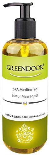 500ml Sparpackung Greendoor Massageöl Mediterran BIO Jojobaöl + BIO Brokkolisamenöl + Aprikosenkernöl + mediterrane Mischung ätherischer Öle, natürliche Inhaltsstoffe, Naturkosmetik Natur pur