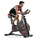 OUNUO Exercise Bike (2020 Upgraded Version), Studio Quality, LCD Displays, Heart Rate Monitor, Large Bidirectional Flywheel, Stationary, Belt Drive, Resistance Adjustment (Black)