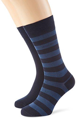 BOSS Herren Twopack Block Stripe Socken, Blau (Dark Blue 401), 43/46 (2er Pack)