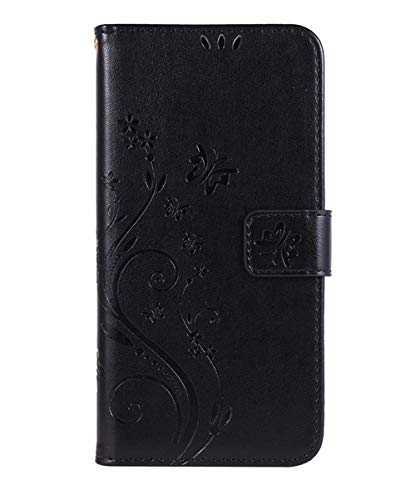 Homikon PU Leder Hülle Schmetterling Muster Schutzhülle Brieftasche Handyhülle Lederhülle Kartenfach Magnetverschluss Ständer Filp Wallet Case Schale Kompatibel mit Samsung Galaxy S4 - Schwarz