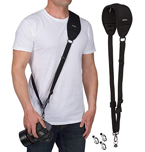 MOVO Universal Rapid Camera Sling Strap with Quick Release Clip - PRO MP-SS4 V2 - Best Value Pack - Vented Padded Neoprene Shoulder Pad, Lens Cap Holders for DSLR, Mirrorless Cameras and Binoculars