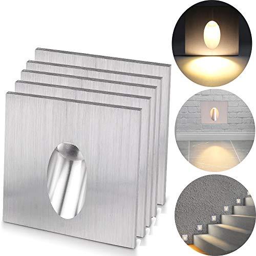 Preisvergleich Produktbild ALLOMN LED Wandeinbauleuchte,  Wandlampen Schritt Licht Quadratisch Einbauleuchte LED Stufen Treppe Veranda Weg Licht 1W Kellerlampe AC 100-245V (Warmweiß,  5 PCS)