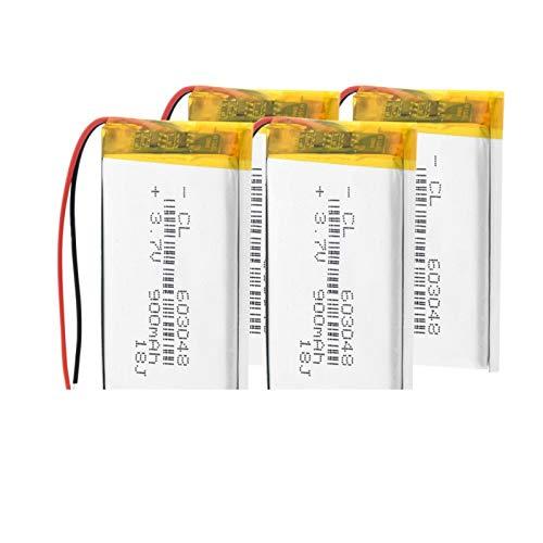 TTCPUYSA 3.7v 900mah 603048 48x30x6mm Batería Recargable De Iones De Litio De PolíMero De Litio, Altavoz De Luz Led para Reemplazo 4pieces