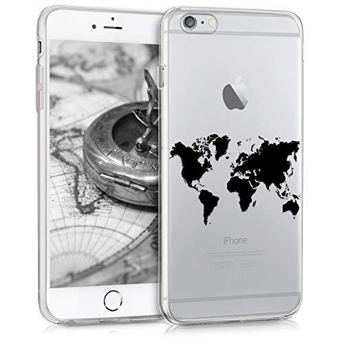 kwmobile Hülle kompatibel mit Apple iPhone 6 Plus / 6S Plus - Handyhülle - Handy Case Travel Umriss Schwarz Transparent