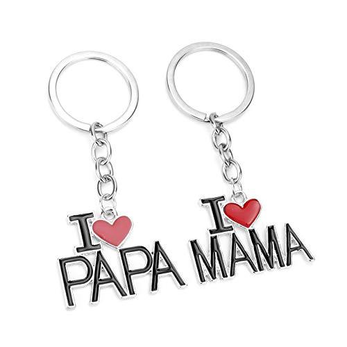 2 Schlüsselanhänger als Set - I Love Mama + I Love Papa mit rotem Herz für Schlüsselbund, Handtasche oder Rucksack. Tolles Geschenk für die Eltern zum Geburtstag, Weihnachten, Muttertag, Vatertag