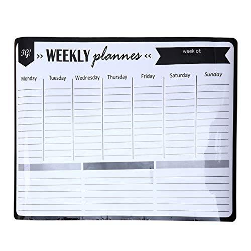 NUOBESTY - Calendario semanal magnético de borrado en seco para nevera, calendario semanal, pizarra blanca, organizador para el hogar y la oficina