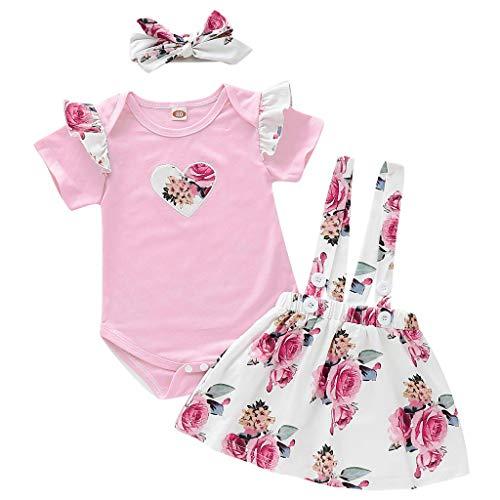 Zegeey Baby MäDchen Summer Strampler Top Floral Rock 2-Teiliges Outfits Set Mit Stirnband Geburtstag Geschenk(Rosa,74)