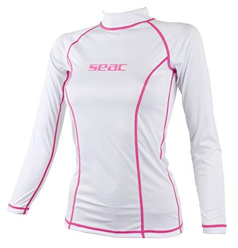 SEAC T-Sun Long Maglia Protettiva Rash Guard per Snorkeling e Nuoto Anti UV Donna Bianco S