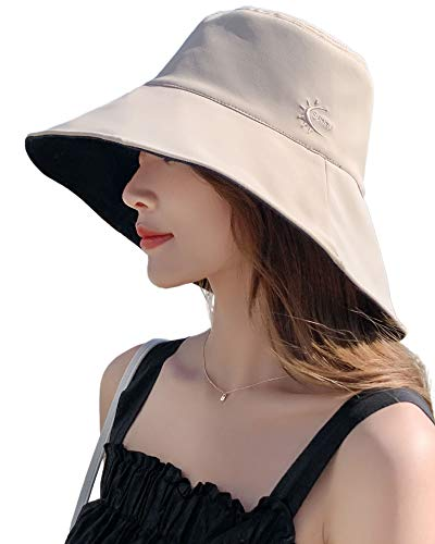 Pyrafox Women's Large Size Sun Shade Bucket Hats Summer Reversible Wide Brim Sun Hat Camping Travel Hat Lightweight Crushable Hat Beige