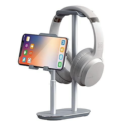 havit Soporte para Auriculares y teléfono móvil, Soporte de Cascos Gaming de Escritorio, Soporte Smartphone, Altura y ángulo Ajustables, aleación de Aluminio (Plateado)
