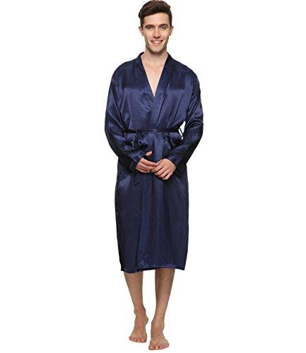 FAYBOX BRIDAL Herren Satin Kimono Robe Morgenmantel Lang Bademantel Kimono Nachtwäsche V Ausschnitt mit Gürtel
