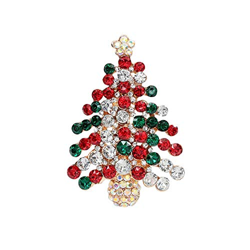 RainbowBeauty Broche del árbol de Navidad Cristal Brillante Pins para Hombres y...