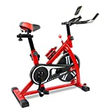 Exercise Bike Indoor Cycling Bicycle Stationary Bikes Cardio Workout Machine Upright Bike Belt Drive Home Gym Training Red