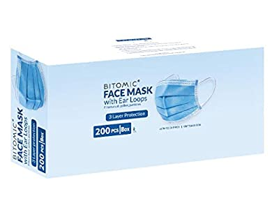 Face Mask 200 Pcs/Box - Single Use with 3PLY 95%+ Filter 3 Layer Breathing Mask for Face Protection - Comfortable with Noseband, Earloop | Disposable Face Mask Procedure | Dust-Proof, Latex Free