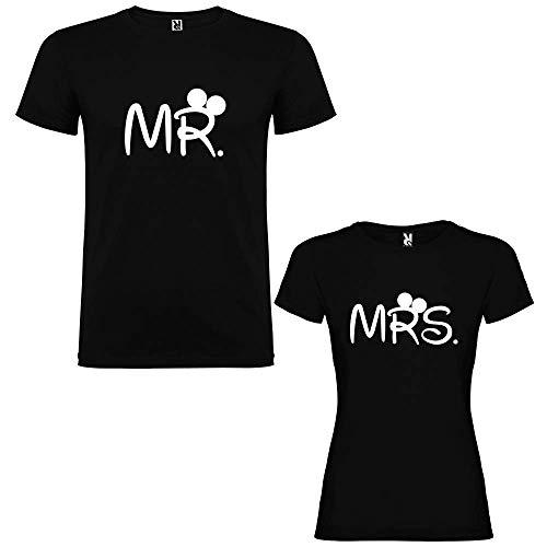 Pack de 2 Camisetas Negras para Parejas, Mr. y Mrs. Blanco (Mujer Tama