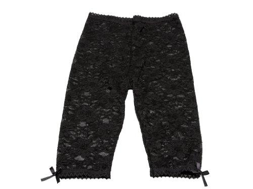 Baby Emporio - Leggings en dentelle pour bébé/fille - nœuds en satin aux chevilles/taille confortable - sachet cadeau - 12-18 mois - Dentelle noire
