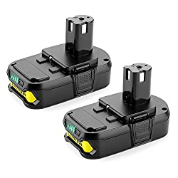 commercial Power supply 2Pack 2500mAh Ryobi 18-Volt ONE + Replacement of Ryobi 18V lithium battery for P104… ryobi battery replacement