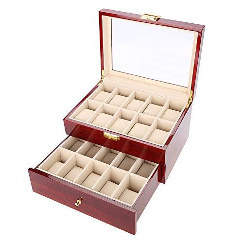 Uhrenbox, 20-Raster-Doppellagen-Watch-Display-Aufbewahrungsbox Watch Organizer Case