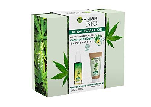 Garnier Bio Pack Ritual Multi-Reparador con Aceite Esencial de Semilla de Cáñamo Sativa Ecológico y Vitamina E para la Piel Estresada, Crema en Gel de Día 50ml y Sérum de Noche 30ml