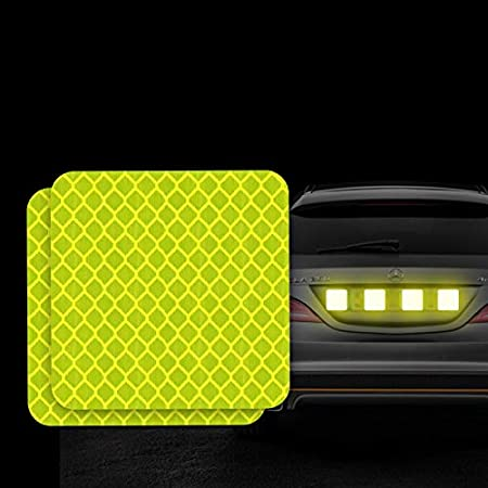 Fluorescent Green-Round folconroad 10Pcs Car Reflective Warning Strip Stickers Safety Warning Light Reflector Protective Sticker Diameter 5cm//1.96 Inche
