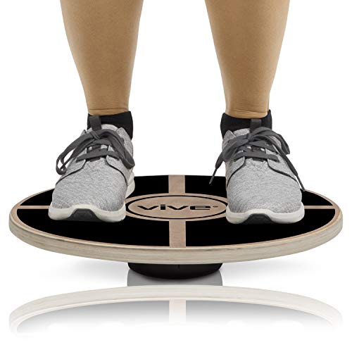 Vive Fit Balance Board - Wooden Self Balancing Wobble Platform - Wood Twist Trainer for Fit Abs, Arms, Legs, Core Tone, Surf, Skateboard, Gymnastics, Ballet, Exercise, Physical Therapy, and Kids