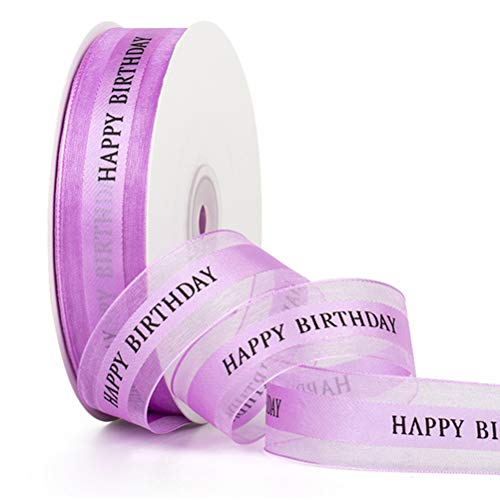 buycheapDG(JP) リボン 2.5CM*45m Happy Birthday 高級 ハンドメイド 手芸 DIY 誕生日ケーキ 花束 ギフト 包装 ラッピング