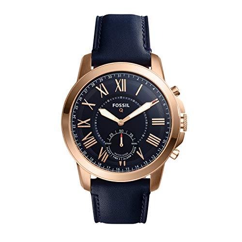 Smartwatch ibrido Fossil Q da uomo in acciaio inossidabile e pelle, colore: oro rosa, blu Modello: FTW1155