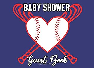 Baby Shower Guest Book: Baseball Batter Bats Sports Ball Love Heart Theme Baby Boy Gender Reveal Party Sign-in Guestbook + Memory Picture Keepsake and Gift Tracker Log Pages - 8.25 x 6