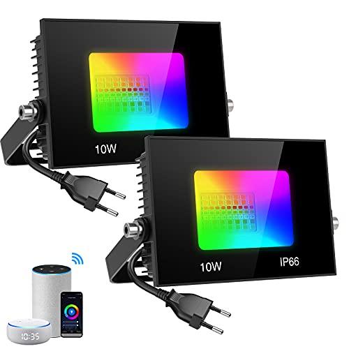Olafus LED Strahler Alexa, 2 x 10W WiFi Fluter Außen, IP66 Wasserdicht Außenstrahler Kompatibel mit Echo Dot, Google Home, Farbewechsel 16 Mio. Farben, Gartenstrahler Timer Musik Dimmbar App Control
