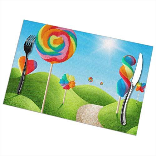 Fantasy Candy Land Delicioso Lollypops PVC Place Mats aislamiento térmico resistente a las manchas manteles individuales